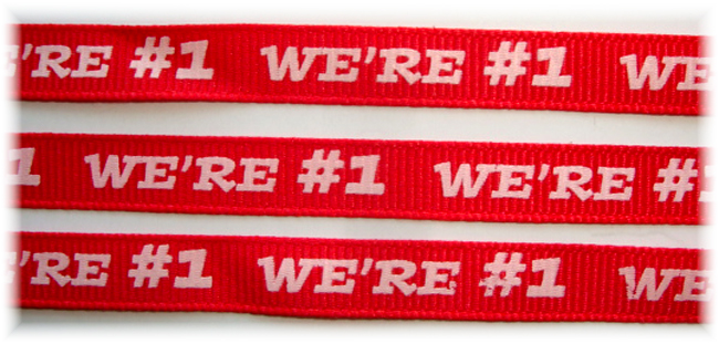 3/8 WE ARE #1 RED CHEER - 5 YARDS