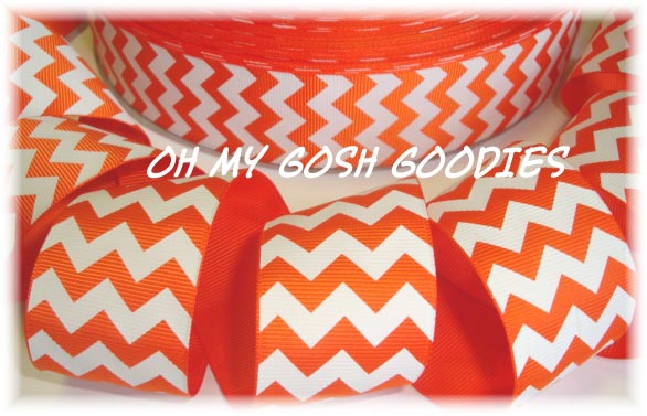 1.5 OOAK CHEVRON STRIPE ORANGE WHITE - 3 YARDS