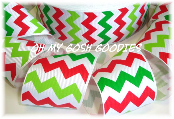 2 1/4 * SALE * CHEVRON ZIG ZAG WHITE RED LIME GREEN - 5 YARDS