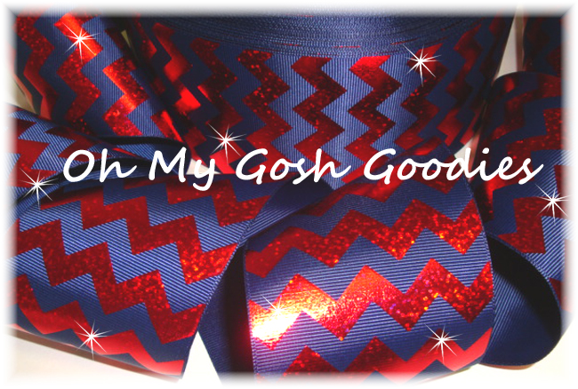 "3"" HOLOGRAM RED CHEVRON NAVY - 5 YARDS"