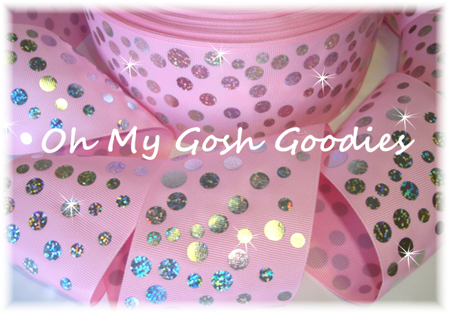 "3"" SILVER HOLOGRAM DISCO DOTS *LIGHT* PINK - 5 YARDS"