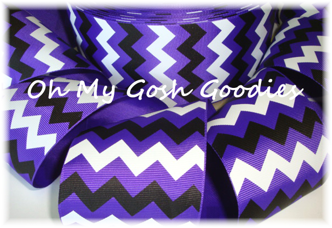 "3"" PURPLE BLACK WHITE CHEVRON - 5 YARDS"
