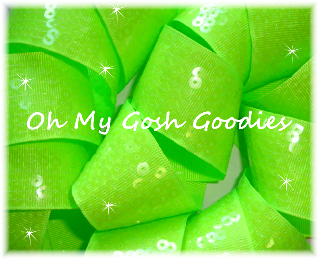 1.5 OOAK SHINY SEQUIN NEON LIME - 2 YARDS