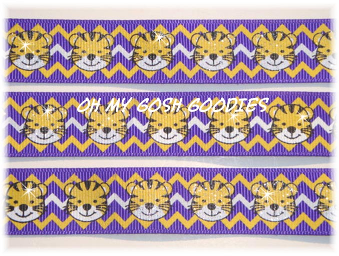 7/8 GLITTER LIL TIGERS CHEVRON PURPLE - 5 YARDS