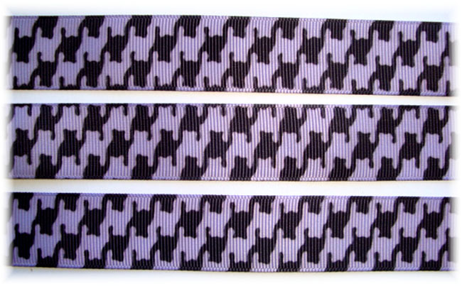 7/8 VENUS ORCHID BLACK HOUNDSTOOTH - 5 YARDS