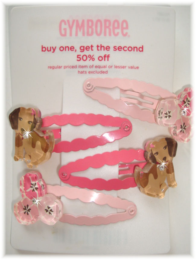 4PC GYMBOREE PUPPIES FLOWERS CLIP EMBELLISHMENTS