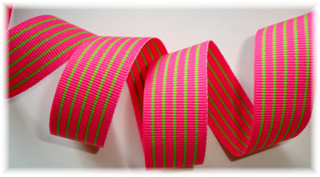 7/8 PINK LIME REVERSIBLE PIN STRIPE - 5 YARDS