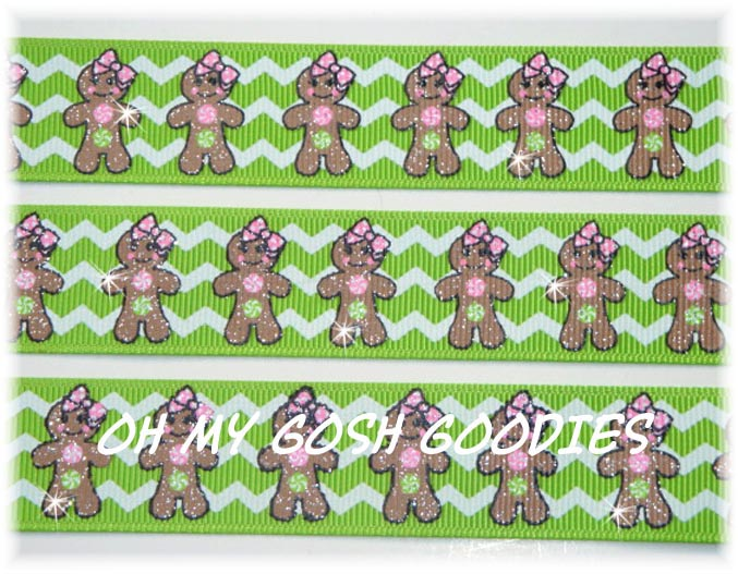 7/8 LIME CHEVRON GLITTER GINGERBREAD - 5 YARDS