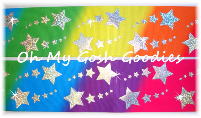 "3""  * STAR RAINBOW * HOLOGRAM DIAGONAL OMBRE' BLING - 5 YARDS"
