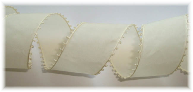 1.5 OOAK IVORY PICOT EDGE TAFFETA GRAYBLOCK VINTAGE SWITZERLAND - 3 1/2 YARDS