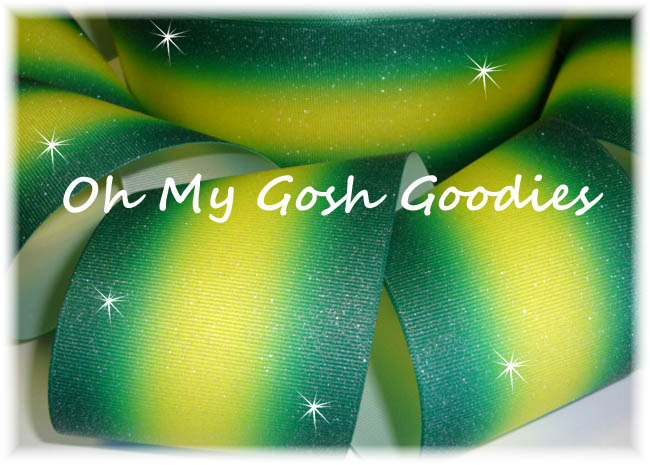 """3"""" OOAK GLITTER DOUBLE OMBRE FOREST YELLOW GOLD CHEER - 6 YARDS"""