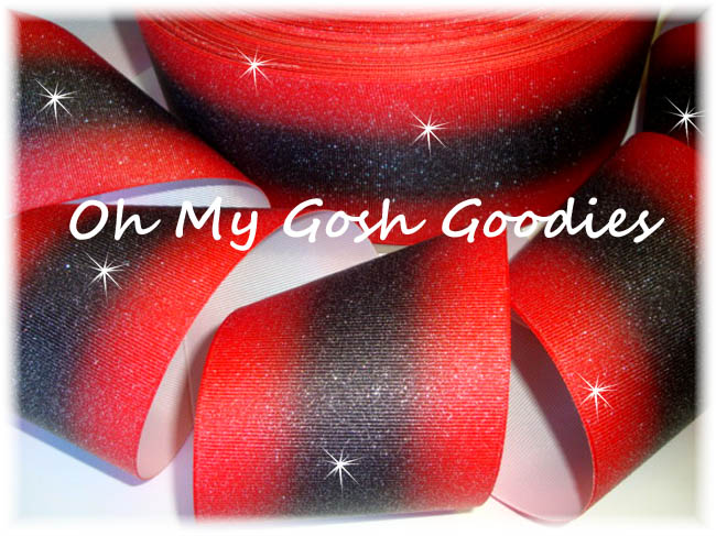 "3"" OOAK GLITTER DOUBLE OMBRE RED BLACK CHEER - 2 1/2 YARDS"