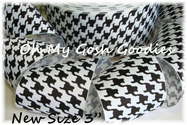 "3"" HOUNDSTOOTH BLACK WHITE CHEER - 5 YARDS"