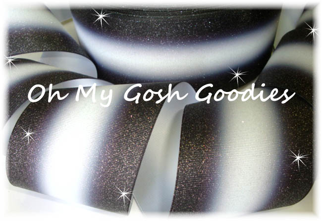 """3"""" OOAK GLITTER DOUBLE OMBRE BLACK WHITE CHEER - 4 YARDS"""