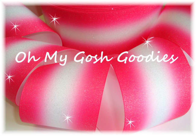 """3"""" OOAK GLITTER DOUBLE OMBRE SHOCKING PINK WHITE CHEER - 4 3/4 YARDS"""