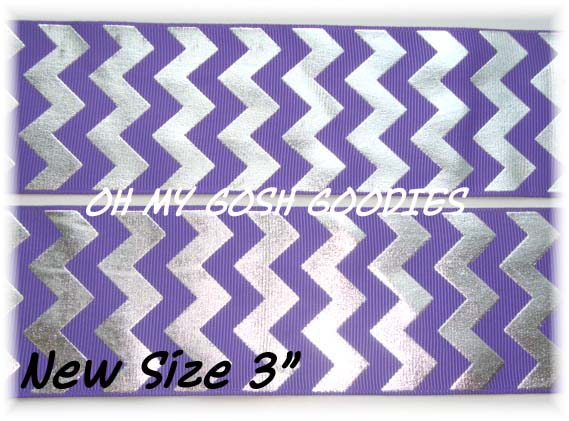 "3""  PURPLE SILVER FOIL CHEVRON - 5 YARDS"
