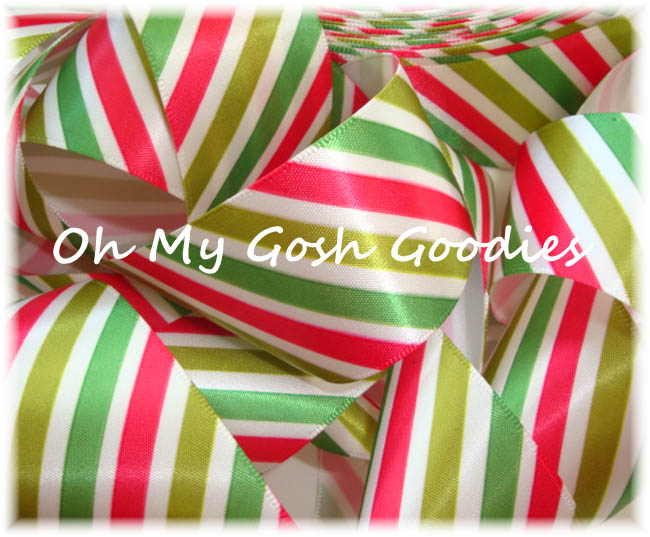 1.5 * SATIN SALE * VENUS DIAGONAL WHITE RED LIME GREEN STRIPE - 5 YARDS