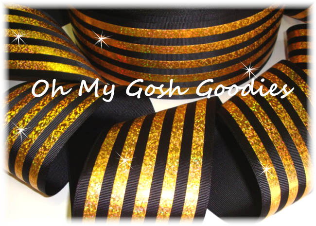"3"" CLASSIC HOLOGRAM STRIPE BLACK GOLD - 5 YARDS"