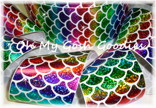 "3"" SPARKLE PRIMARY MERMAID SHELLS HOLOGRAM  - 5 YARDS"
