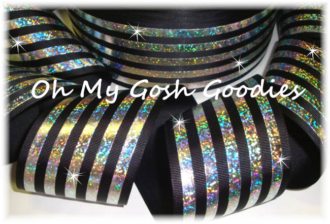 "3"" CLASSIC HOLOGRAM STRIPE BLACK SILVER - 5 YARDS"