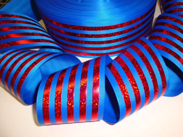 "3"" CLASSIC HOLOGRAM STRIPE ROYAL RED - 5 YARDS"