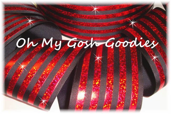 "3"" CLASSIC HOLOGRAM STRIPE BLACK RED - 5 YARDS"
