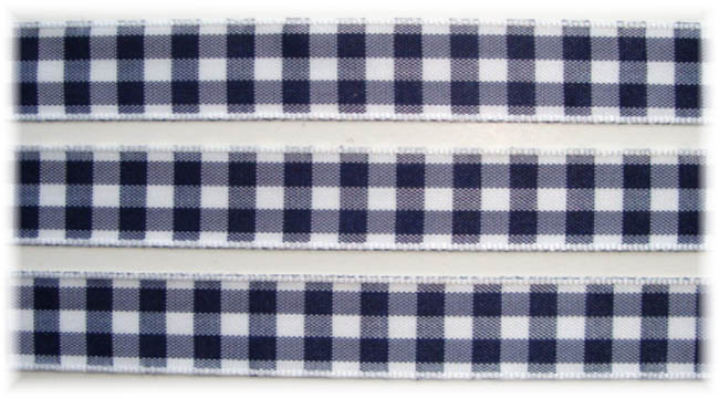 5/8 NAVY WHITE BOLD CHECK RIBBON - 5YD