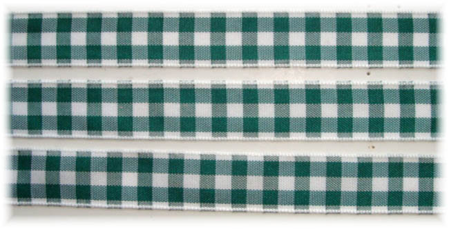 5/8 OOAK FOREST GREEN WHITE BOLD CHECK RIBBON - 3 1/2 YARDS