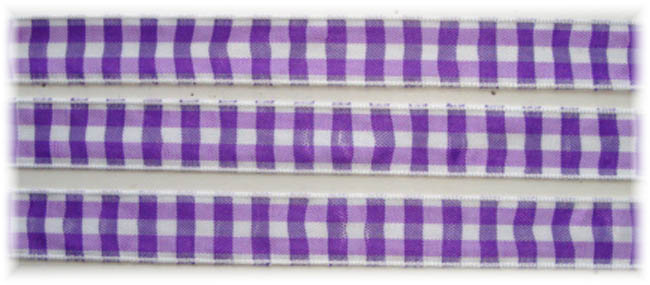 5/8 OOAK PURPLE WHITE BOLD CHECK RIBBON - 3 1/3 YARDS