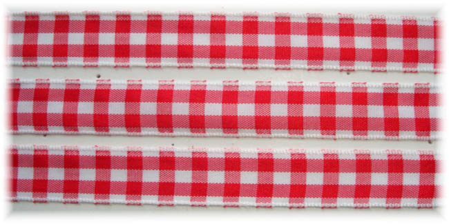 5/8 RED WHITE BOLD CHECK RIBBON - 5YD