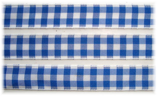 5/8 OOAK ROYAL WHITE BOLD CHECK RIBBON - 5 1/2 YARDS
