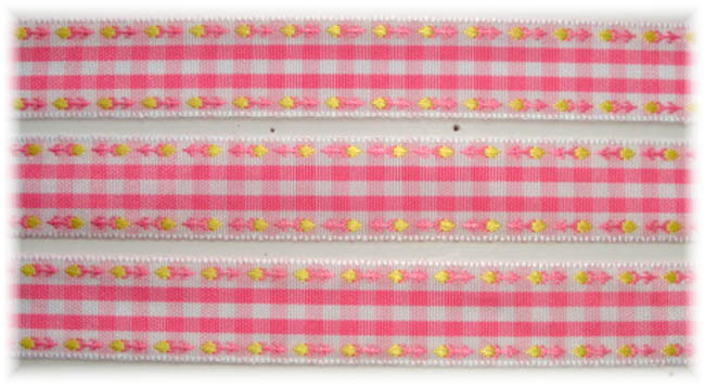 5/8 PINK WHITE FLOWER BOLD CHECK RIBBON - 5YD