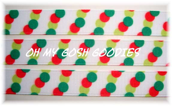 5/8 SALE RED LIME GREEN TRIO DOTS - 5 YARDS