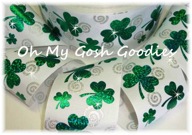 "3"" GREEN HOLOGRAM SHAMROCK SWIRLS WHITE  - 5 YARDS"