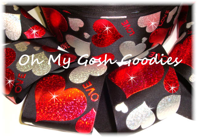"3"" HEARTS RED SILVER LOVE HOLOGRAM BLACK  - 5 YARDS"