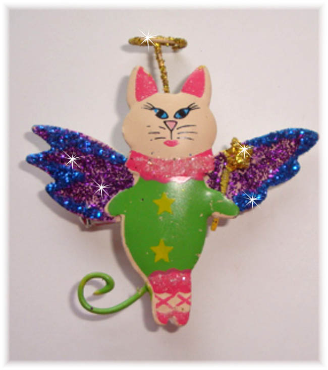 1PC DESIGNER GLITTER PIN LIME CAT HAIRBOW EMBELLISHMENT