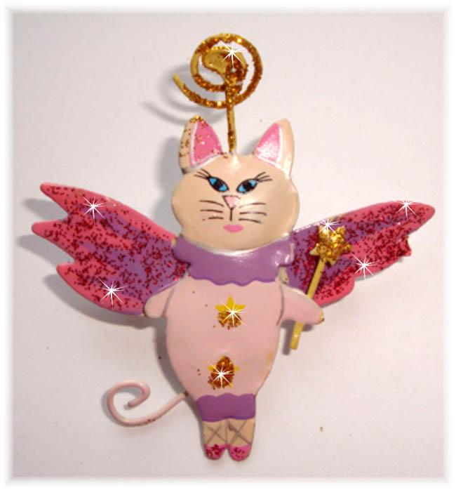 1PC DESIGNER GLITTER PIN PINK CAT HAIRBOW EMBELLISHMENT