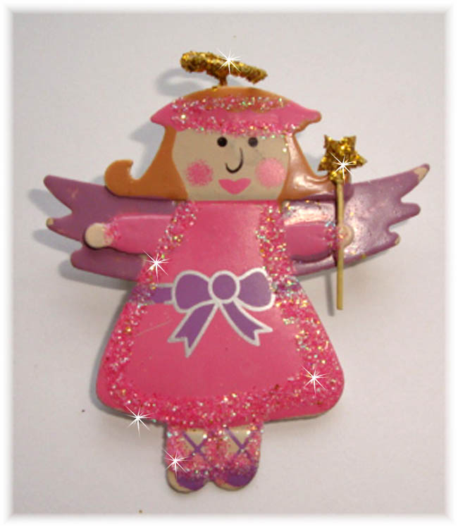 1PC DESIGNER GLITTER PIN PINK ANGEL HAIRBOW EMBELLISHMENT