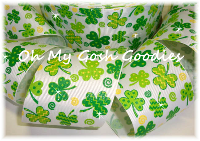 "3"" GLITTER DOTS & CHEVRON SHAMROCKS - 5 YARDS"