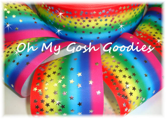 3 TINY TWINKLE SILVER STARS RAINBOW - 5  YARDS