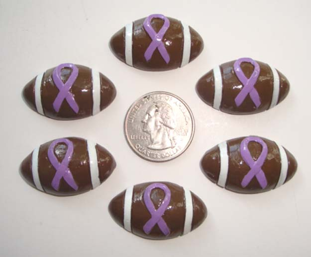 2PC PURPLE RIBBON AWARENESS FOOTBALL RESINS