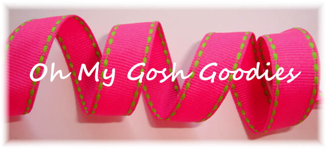 5/8 SALE SHOCKING PINK LIME STITCH - 5 YARDS