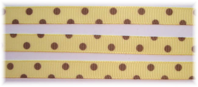 3/8 YELLOW BROWN PIN DOTS VENUS - 5 YARDS