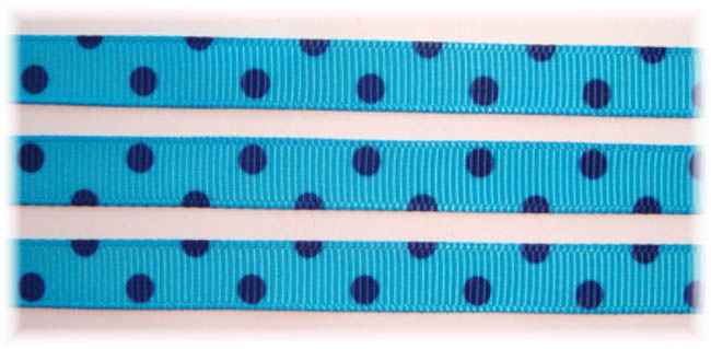 3/8 TURQUOISE NAVY PIN DOTS VENUS - 5 YARDS
