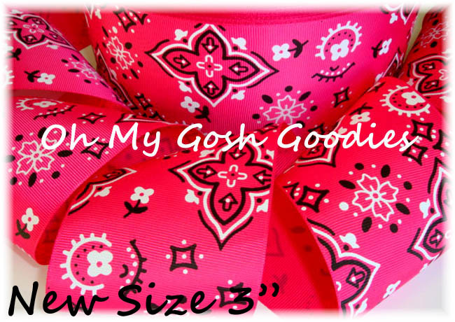 "3"" SHOCKING PINK COWGIRL  BANDANA - 5 YARDS"