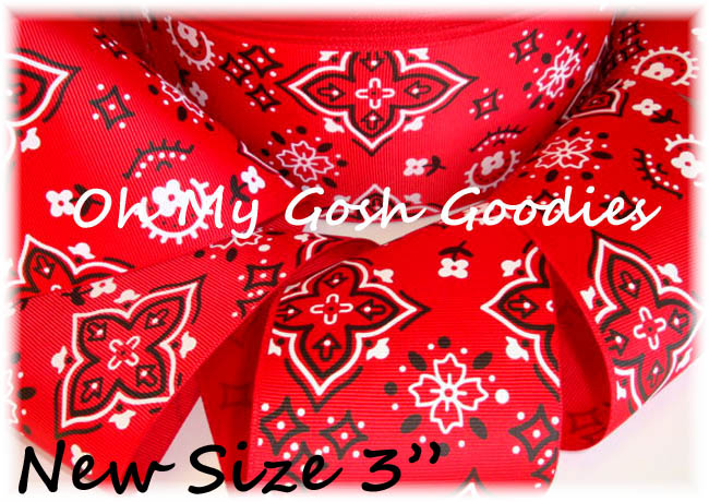 "3"" RED COWGIRL  BANDANA - 5 YARDS"