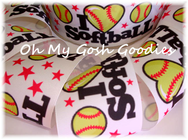 "3"" * RED STAR * I LOVE SOFTBALL - 5 YARDS"