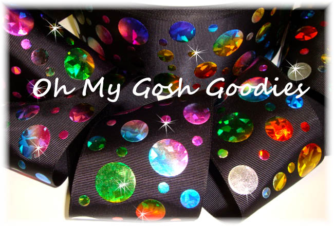 "3"" CRACKLE DOTS RAINBOW HOLOGRAM BLACK - 5 YARDS"
