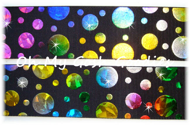 1.5 CRACKLE DOTS RAINBOW HOLOGRAM BLACK - 5 YARDS