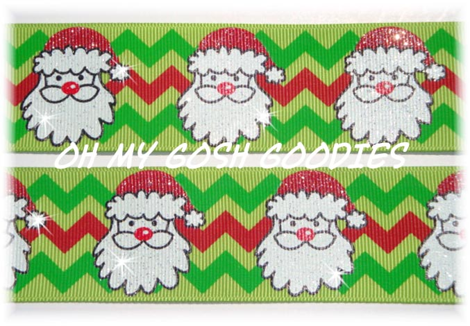 1.5 LIME CHEVRON GLITTER  SANTA - 5 YARDS